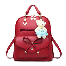 Mansy Korean PU Leather Backpack Bear Keychain Lady Women New Handbags Shoulder Bag Wild Dual Backpack Ladies Travel Bag