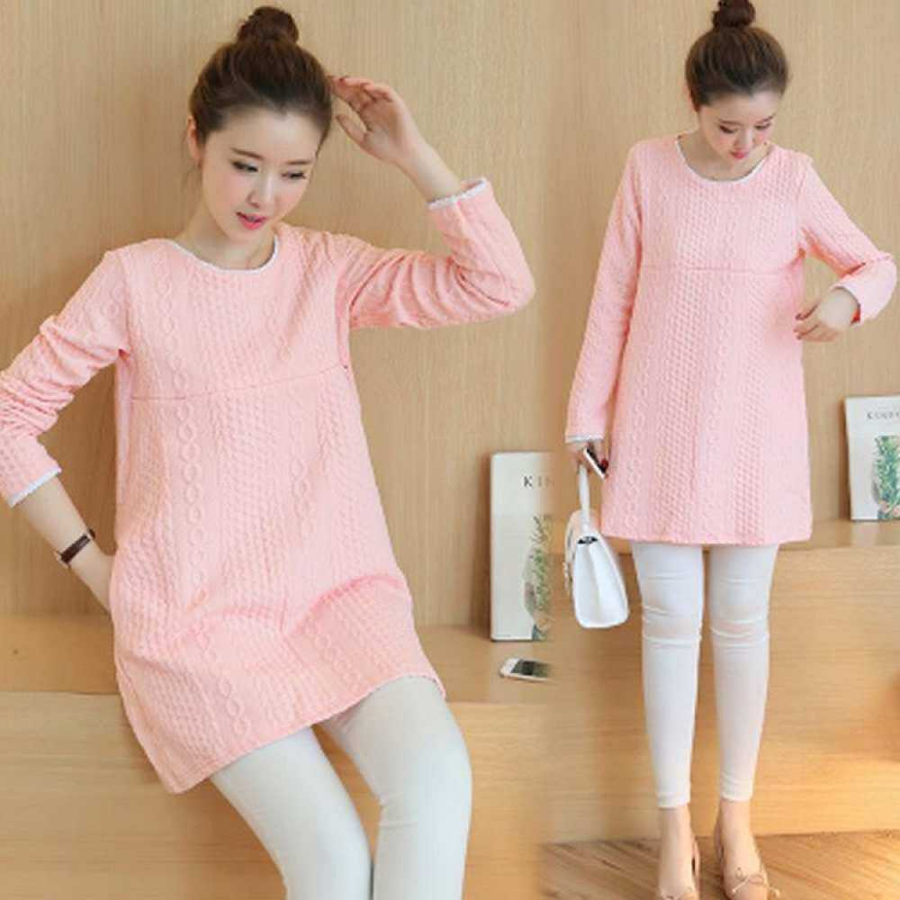 Gaun bersalin warna musim semi musim semi musim semi 2017 baju hamil Korea atau bagian Pink