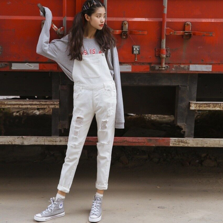 May_zz Cstore And Summer New Holes Denim Overalls Female Korean Version 2017 Studen All-Match