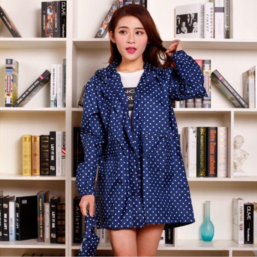 May_zz Jepang dan Korea Selatan Women'portable Bernapas Jas Hujan Tahan Air (Biru)-Intl