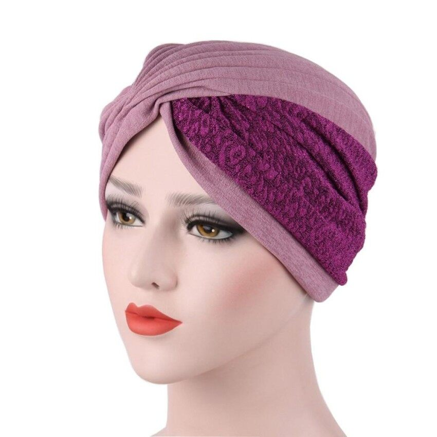 May zz Wanita India Topi Muslim Ruffle Kanker Topi Chemo Beanie Syal  Selendang Kepala Turban Cap- 1048202bed