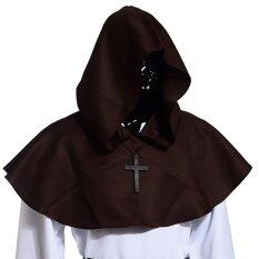 Medieval Hooded Cowl Hood With Cross Necklace Black By Wuhan Qianchen