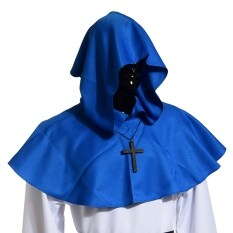 Medieval Hooded Cowl Hood With Cross Necklace Blue By Wuhan Qianchen.