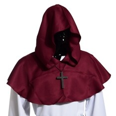 Medieval Hooded Cowl Hood With Cross Necklace Burgundy By Wuhan Qianchen.