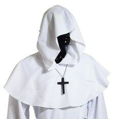 Medieval Hooded Cowl Hood With Cross Necklace White By Wuhan Qianchen