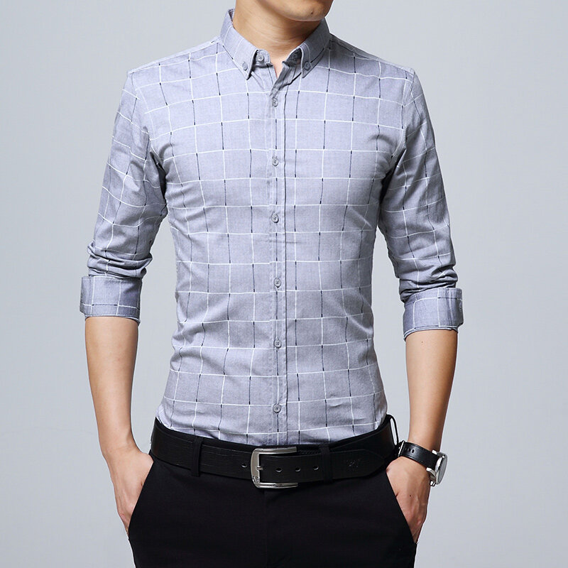 Men Fashion Casual Long Sleeved Lattice Shirt Stylish Slim Fit Male Social  Business Formal Shirt Men