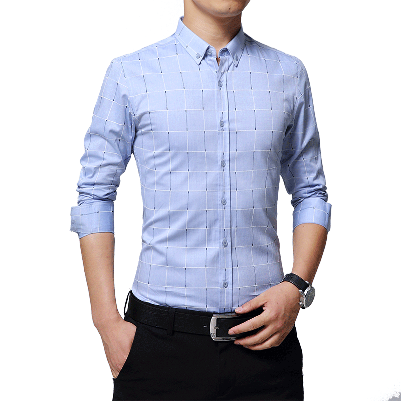 Men Fashion Casual Long Sleeve Slim Fit Shirts Stylish Dress For Business Formal