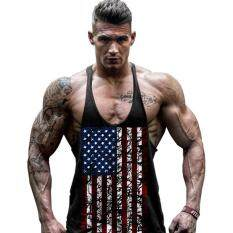 Men Fitness Breathable Cotton Vest Waistcoat With American Flag Design Outdoor Sports Vest By Danlong Store.