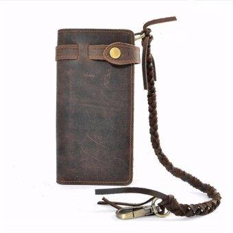 Men Leather Biker Trucker Long Chain Wallet Card Holder Coin Bag Purse Handbag - intl