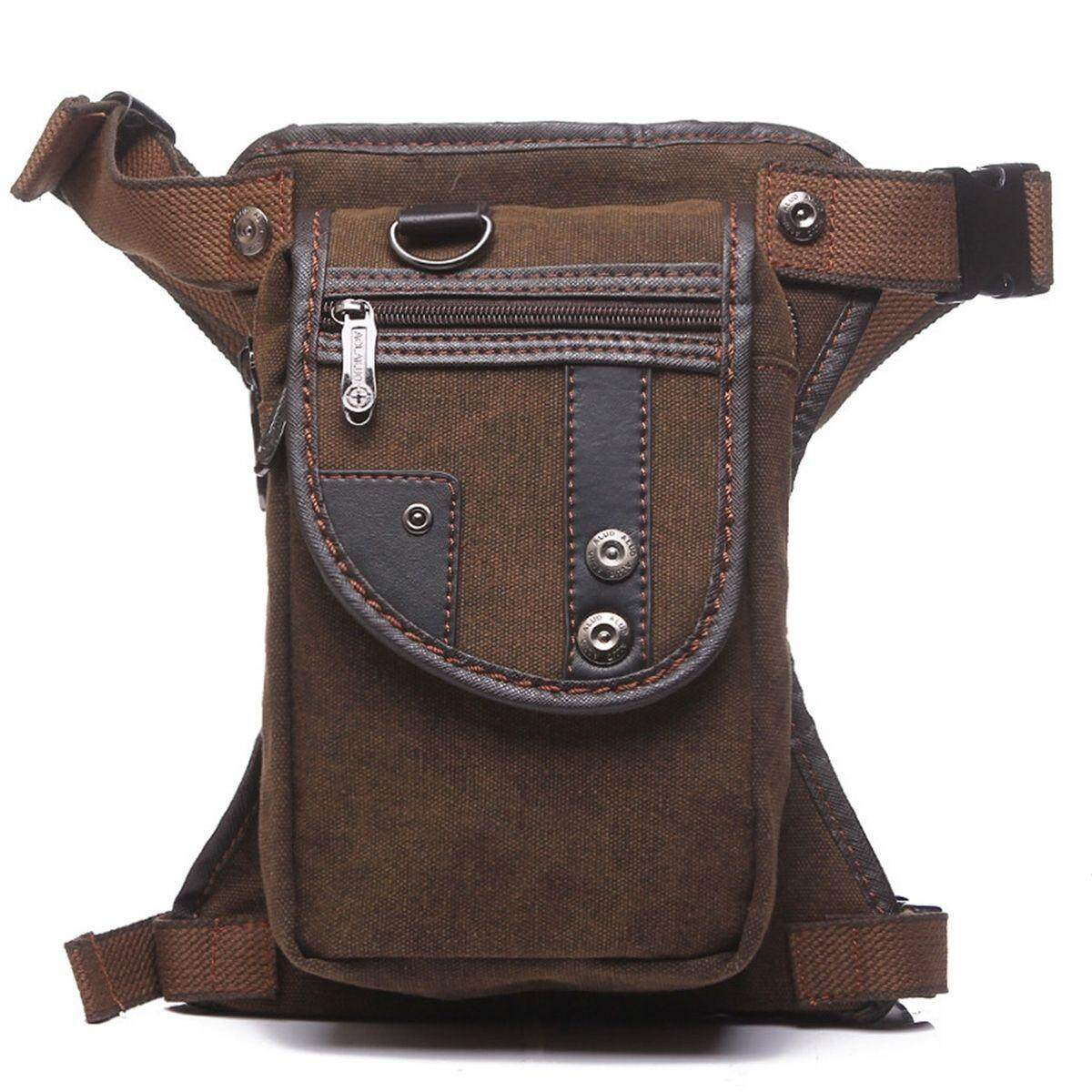 Men Nylon Canvas Multi Purpose Waist Bag Leg Drop Bag Hip F*nny Motorcycle Pack Brown Intl Not Specified Cheap On China