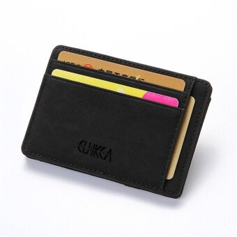 Men Slim Billfold Wallet PU Leather Credit Card Holder Coin Money Clip Zip Bag Black
