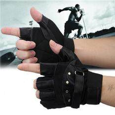 Men Soft Sheep Leather Driving Motorcycle Biker Fingerless Warm Gloves By Goldenfashionie.