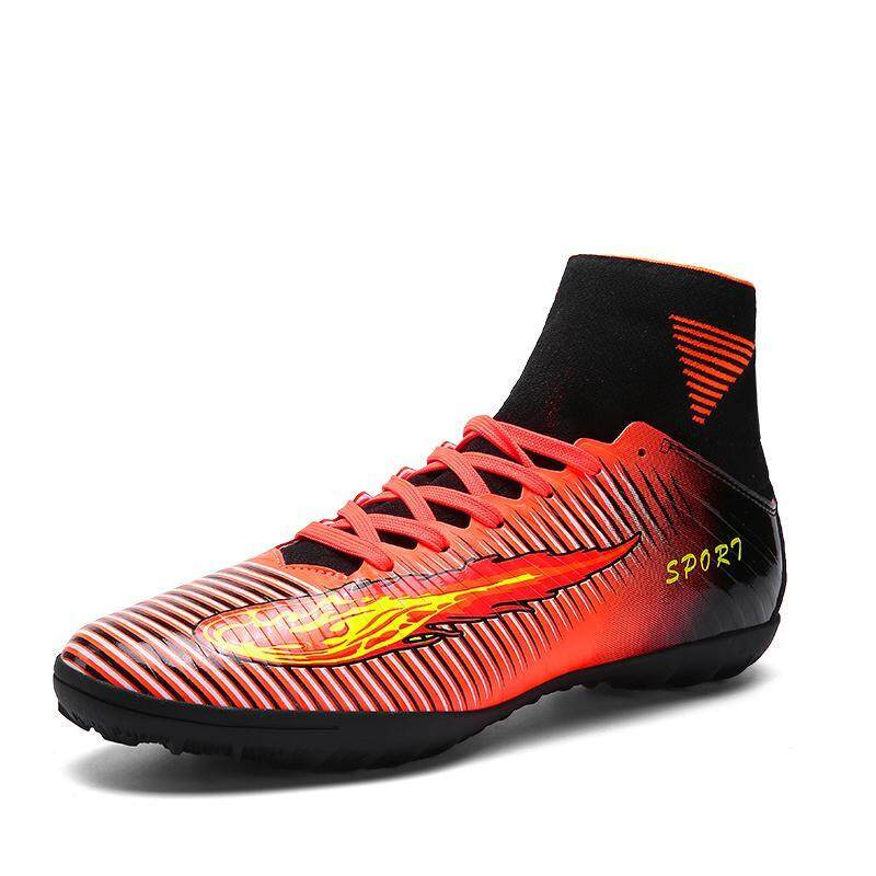 8412ae4c7 Winder Men Spikes Training Football Boots Ankle Soccer Shoes Leather High  Top Soccer Cleats Football Sneaker Green