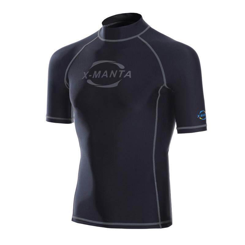 Pria Sport Huruf Cetak Baju Renang Terbaik Patchwork Lengan Pendek Tabir Surya Wetsuit LS-611 (Abu-abu) -Internasional