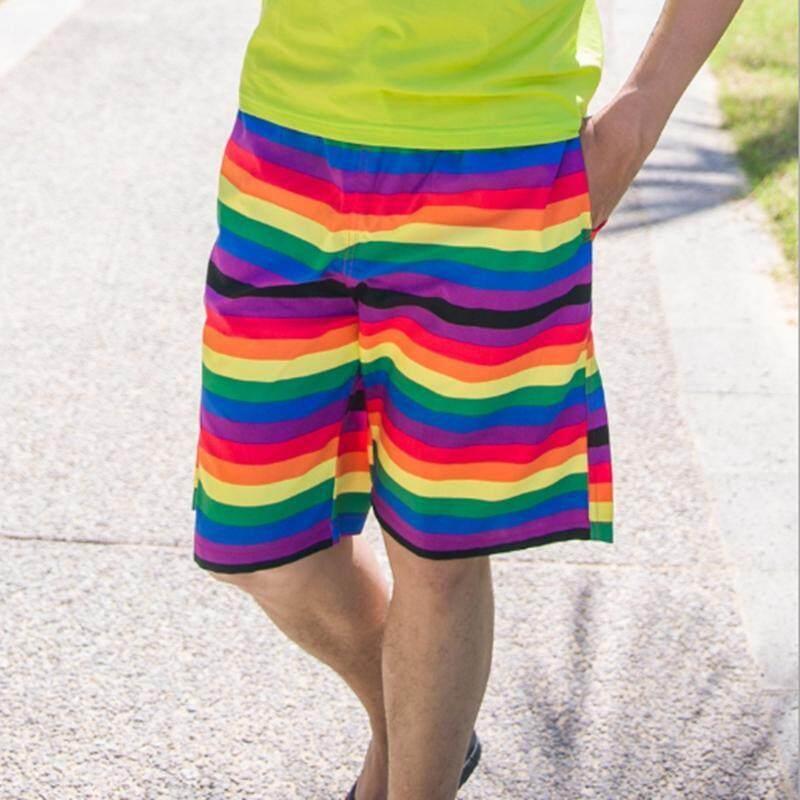 Pria Musim Panas Celana Pendek Pantai Cepat Kering Celana Pantai untuk Pasangan Rainbow Celana Pendek Olahraga Berenang Celana Pantai Setelan Ukuran Besar Baju Renang Liburan-Intl