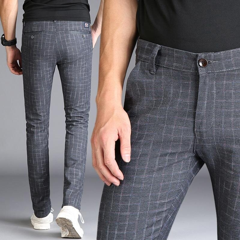 4b0989827 Men s Casual Plaid Pants Slim Fit Cotton Long Chinos Checked Trousers