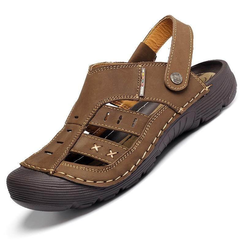 Pria Kulit Sapi Sepatu Pantai Nyaman Panjat Tebing Luar Ruangan Sepatu Gunung Khusus Di Air Sandal (Coklat)-Intl