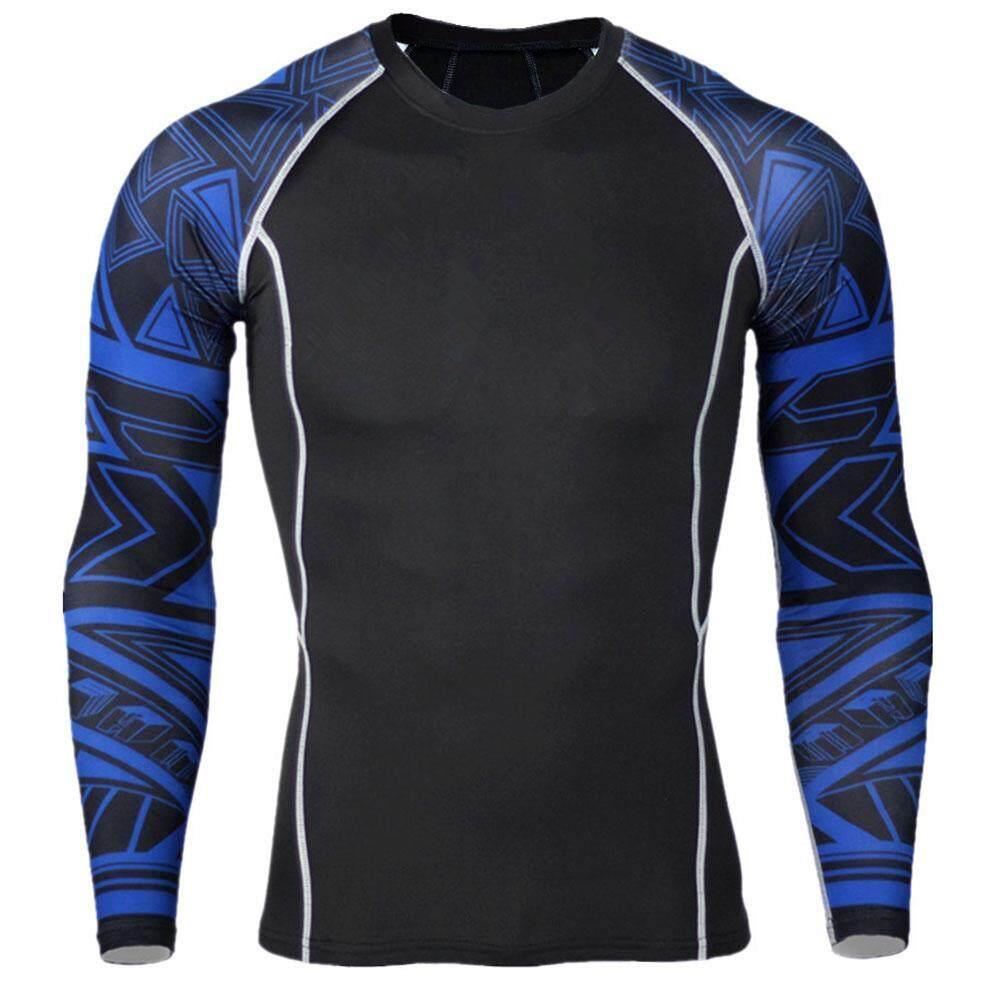 Hình ảnh Men's Fitness-Clothing T-shirt Slim Splicing Long Sleeves Sport Jogging Blouse - intl