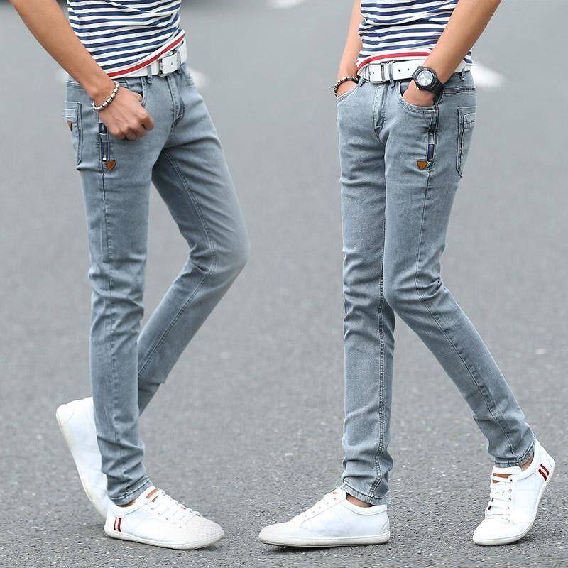 Korea Pria Jeans Ramping Sesuai Grey Panjang Seluar Celana Mode Remaja, Siap Stok-Internasional