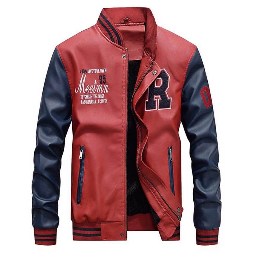 cb72455cd8e83 Men s PU Leather Embroidery Baseball Jackets Coats Slim Fit Zipper Casual  Outwear - intl