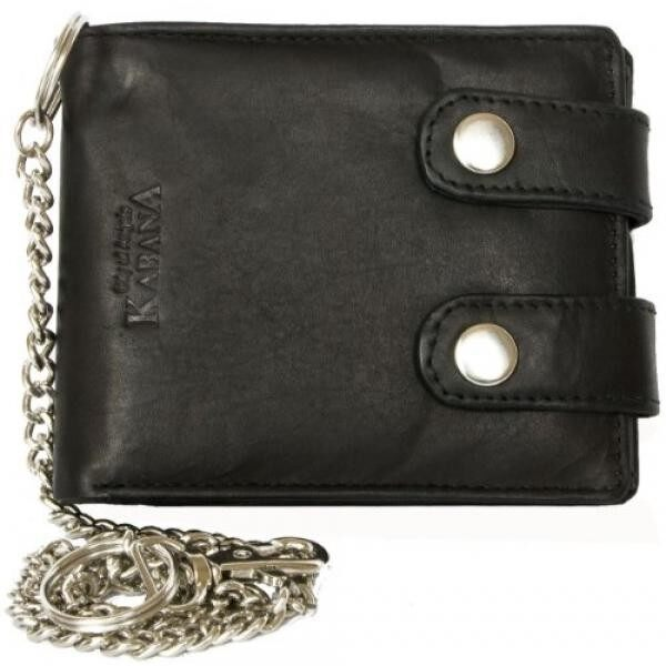Mens Black Bikers Wallet Kabana with 18 Inch Long Metal Chain to Hang - intl