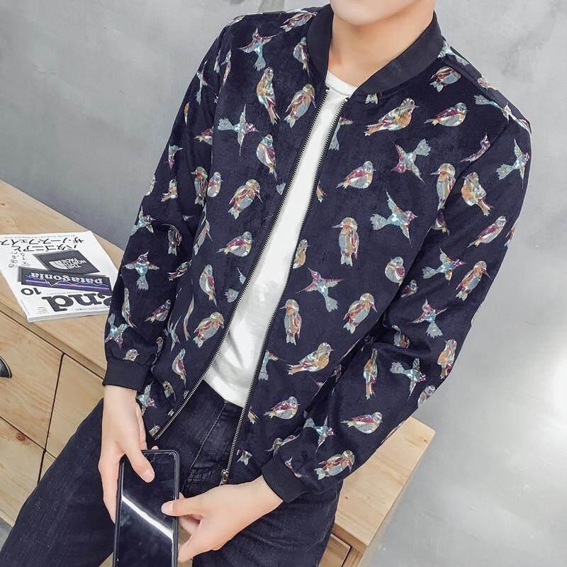 Pria Jaket Bomber New Spring Fashion Cetak Jaket untuk Bermain Baseball Mantel Tanpa Kerah Slim-Intl