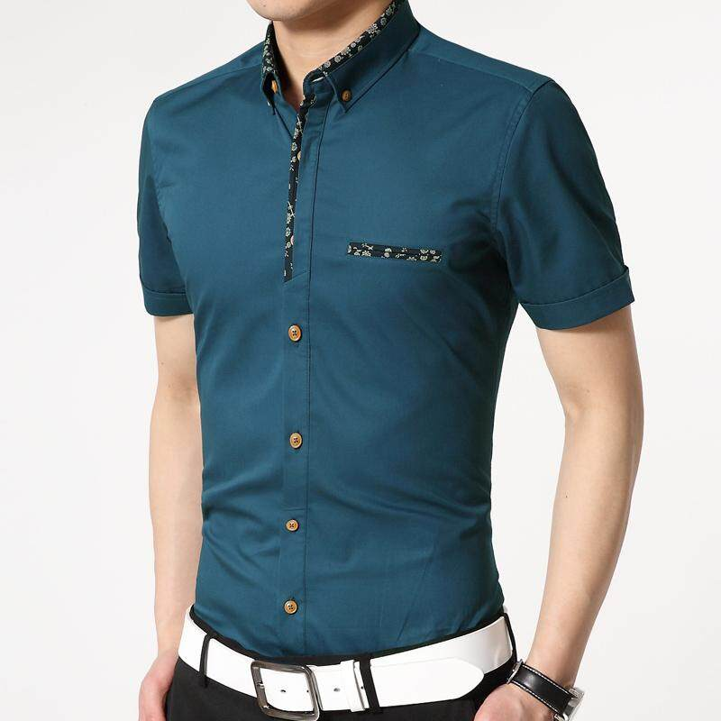 Mens Business Casual Cotton Slim Short-Sleeved Shirt(green) By Putian Yulongxuanzhubaoshipin Gongsi Ltd.
