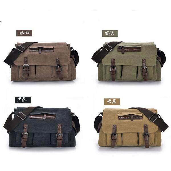 Hình ảnh Mens Casual Canvas Messenger Bag Travel Shoulder - intl