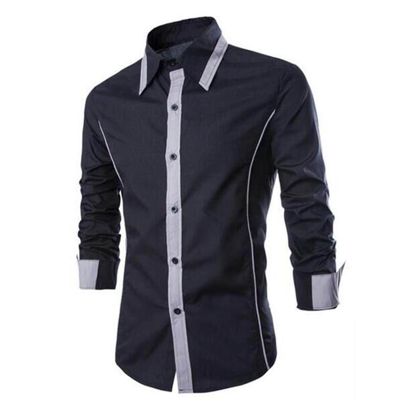 4c8741c1cf3 Uyehs99s Men s Casual Long Sleeve POLO Shirt Button Down Color Black Dress  Shirt Contrast