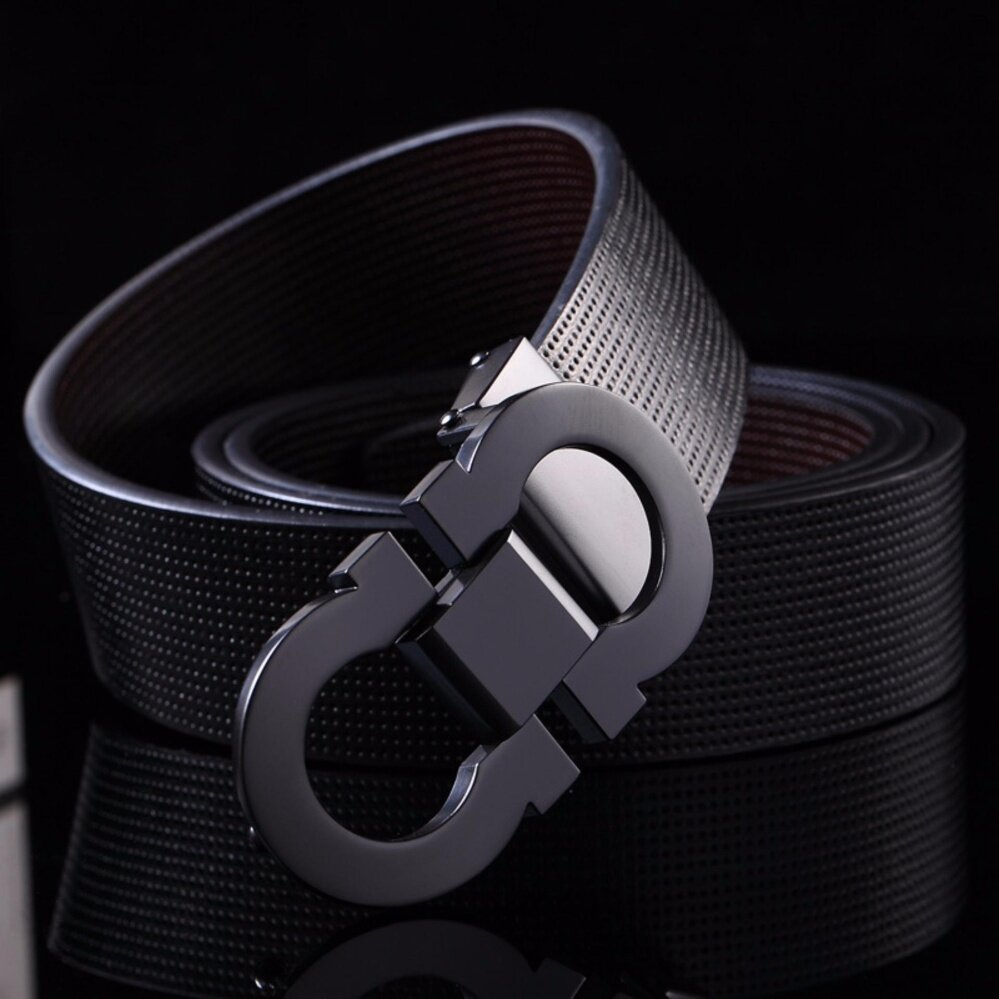 Men's High Quality Leather Belt Smooth Buckle Belt 35mm Length up to 125cm-black+black buckle