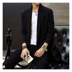 Mens Long Knitted Lapel Open Front Cardigan-Black By Guo Guo Well Shopping Store.