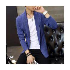 Mens Long Knitted Lapel Open Front Cardigan-Blue By Guo Guo Well Shopping Store.