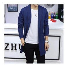 Mens Long Knitted Lapel Open Front Cardigan-Blue By Guo Guo Well Shopping Store
