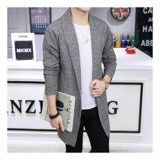 Mens Long Knitted Lapel Open Front Cardigan-Gray By Guo Guo Well Shopping Store.