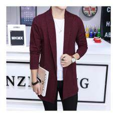 Mens Long Knitted Lapel Open Front Cardigan-Wine Red By Guo Guo Well Shopping Store.
