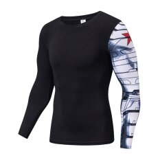 0348df45540 Mens Long Sleeve Black Cotton T-shirt For Winter Soldier Cosplay  Compression Iron Arm Tee