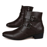 Men s New Fashion Ankle Straps Comfortable Casual Men Ankle Boots Shoes( Brown)  352e92a34b