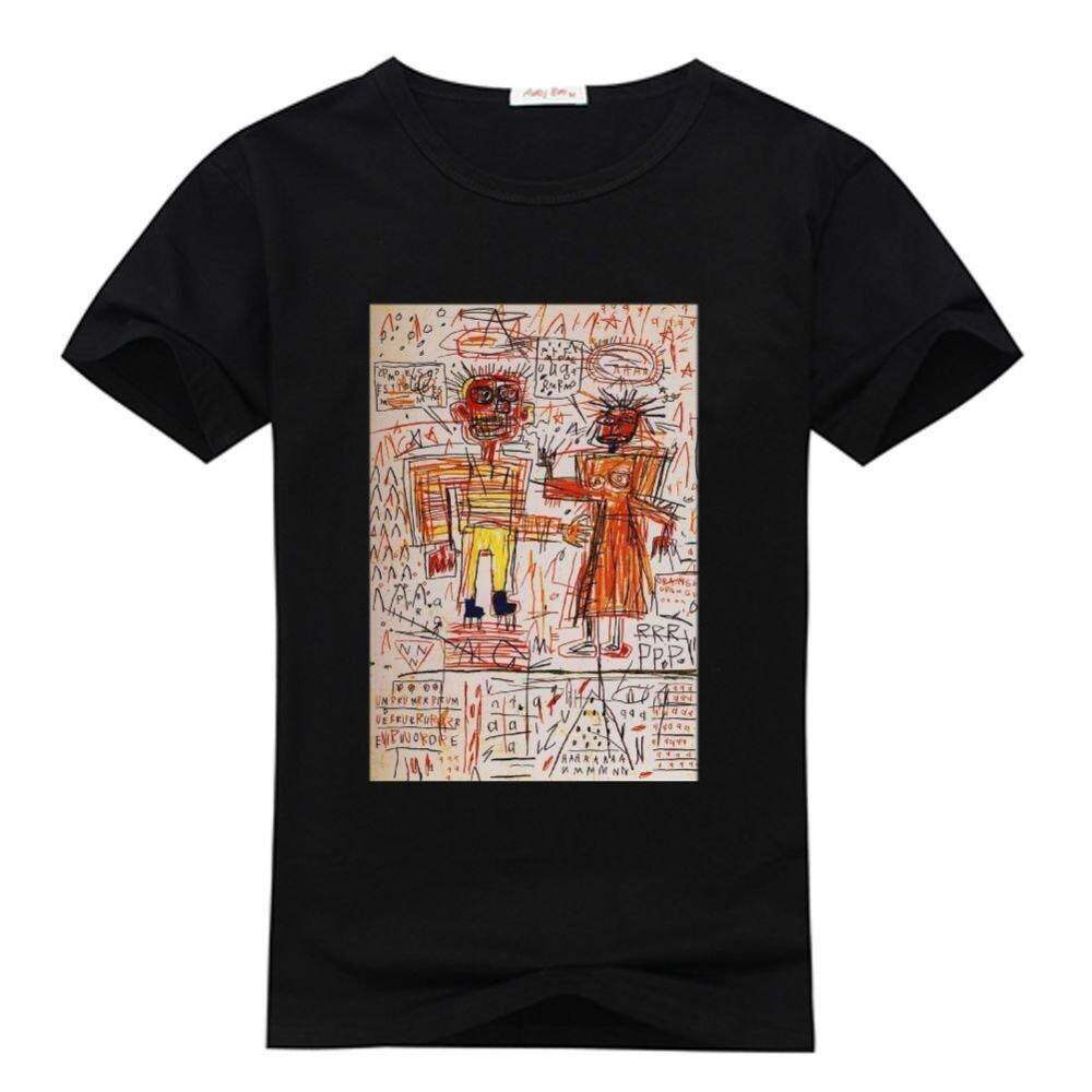 Pria S Kaos O-neck Kustom Hitam Michel Kemeja T Basquiat Jean
