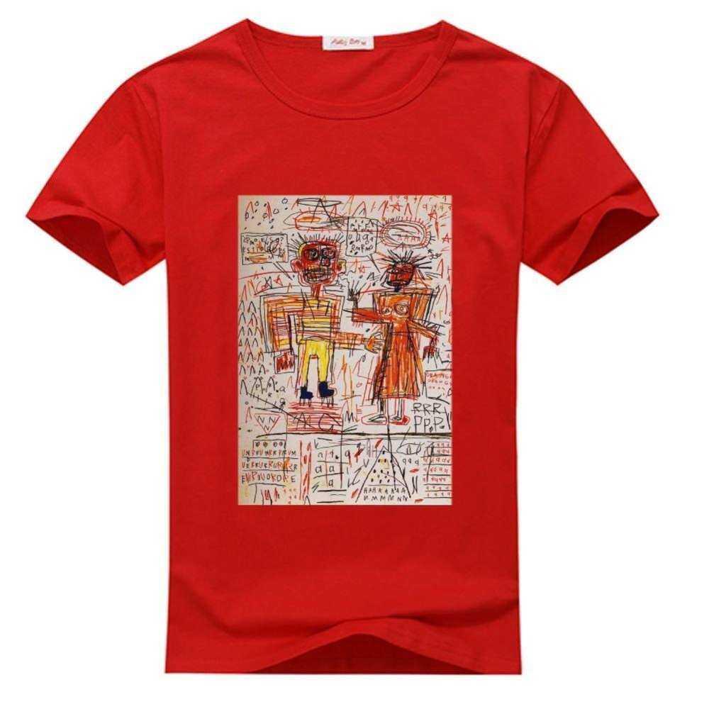 Pria S Kaos O-neck Kustom Michel Jean Kemeja Merah Basquiat T