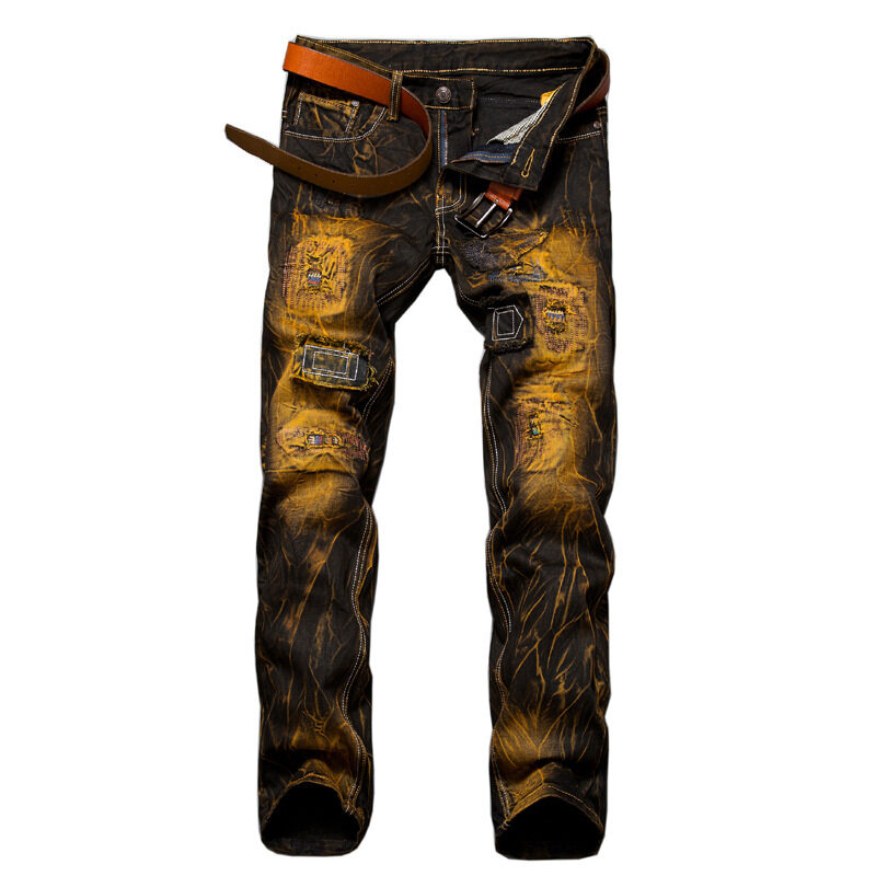 Men's Clothing 2018 Fashion America Brand Slim Fit Patchwork Denim Ripped Zipper Skinny Jeans Hole For Man Embroidery Patch Designer Big Size