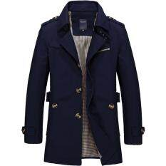 Mens Single Breasted Trench Jackets & Coats - Dark Blue By Priss Store.