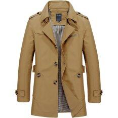 Mens Single Breasted Trench Jackets & Coats - Dark Khaki By Priss Store.