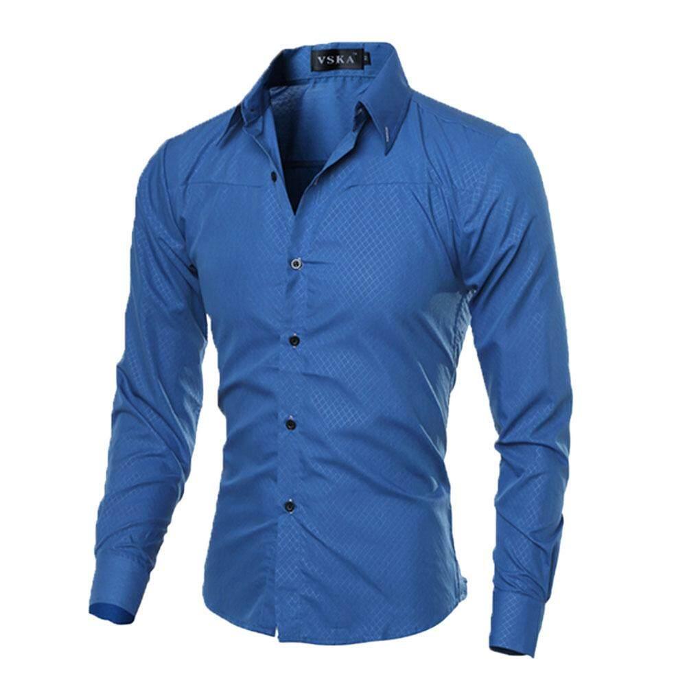 Mens Slim Fit Shirt Long Sleeve Dress Shirts Casual Shirts - Intl By Anything4you.