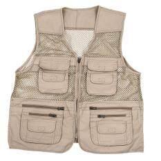 Mens Utility Multi Pockets Hunting Fishing Shooting Hiking Vest Waistcoat- XXXXL,Beige