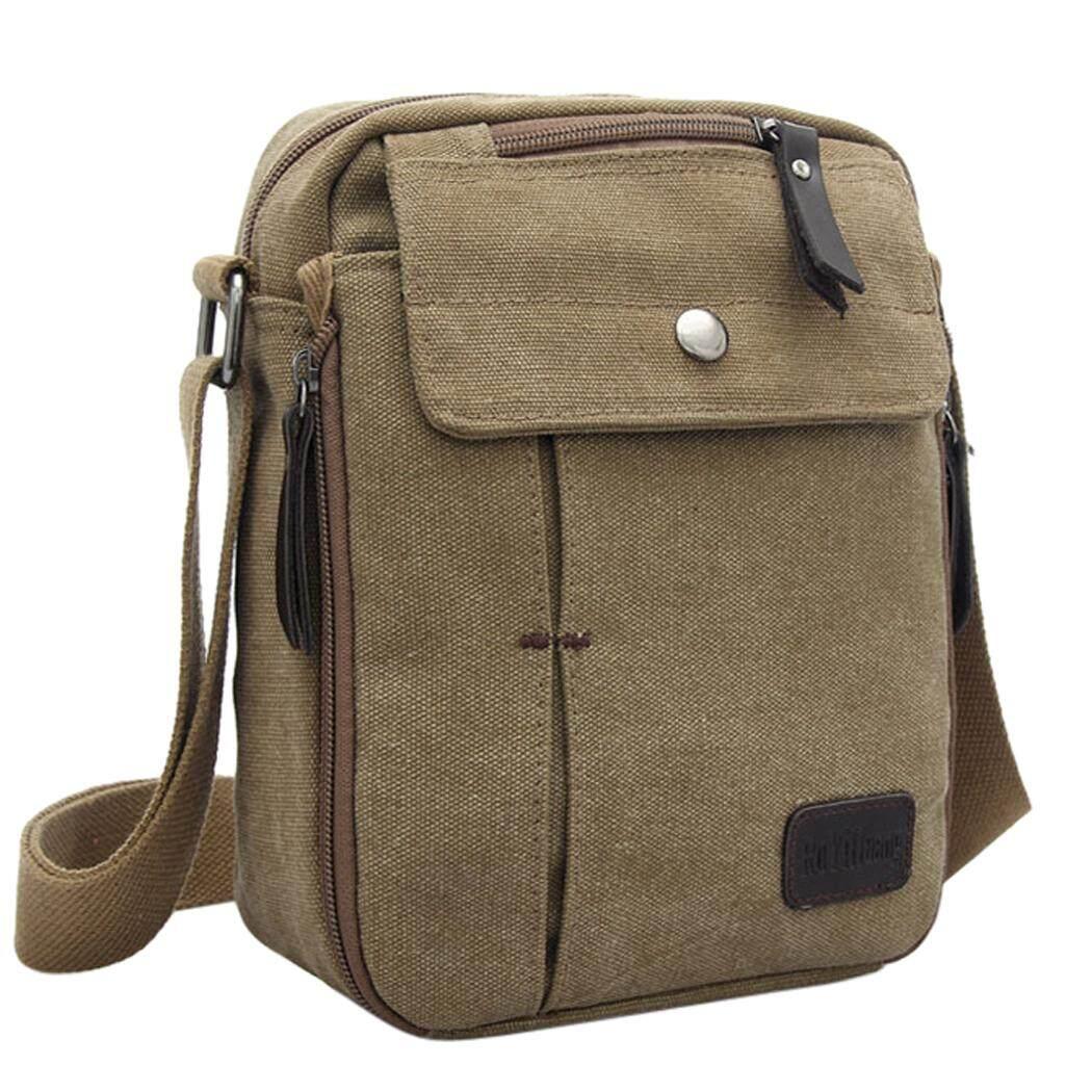 ... Messenger Bag Multi Pocket Canvas Shoulder Bag Crossbody Satchel Bag for Men intl