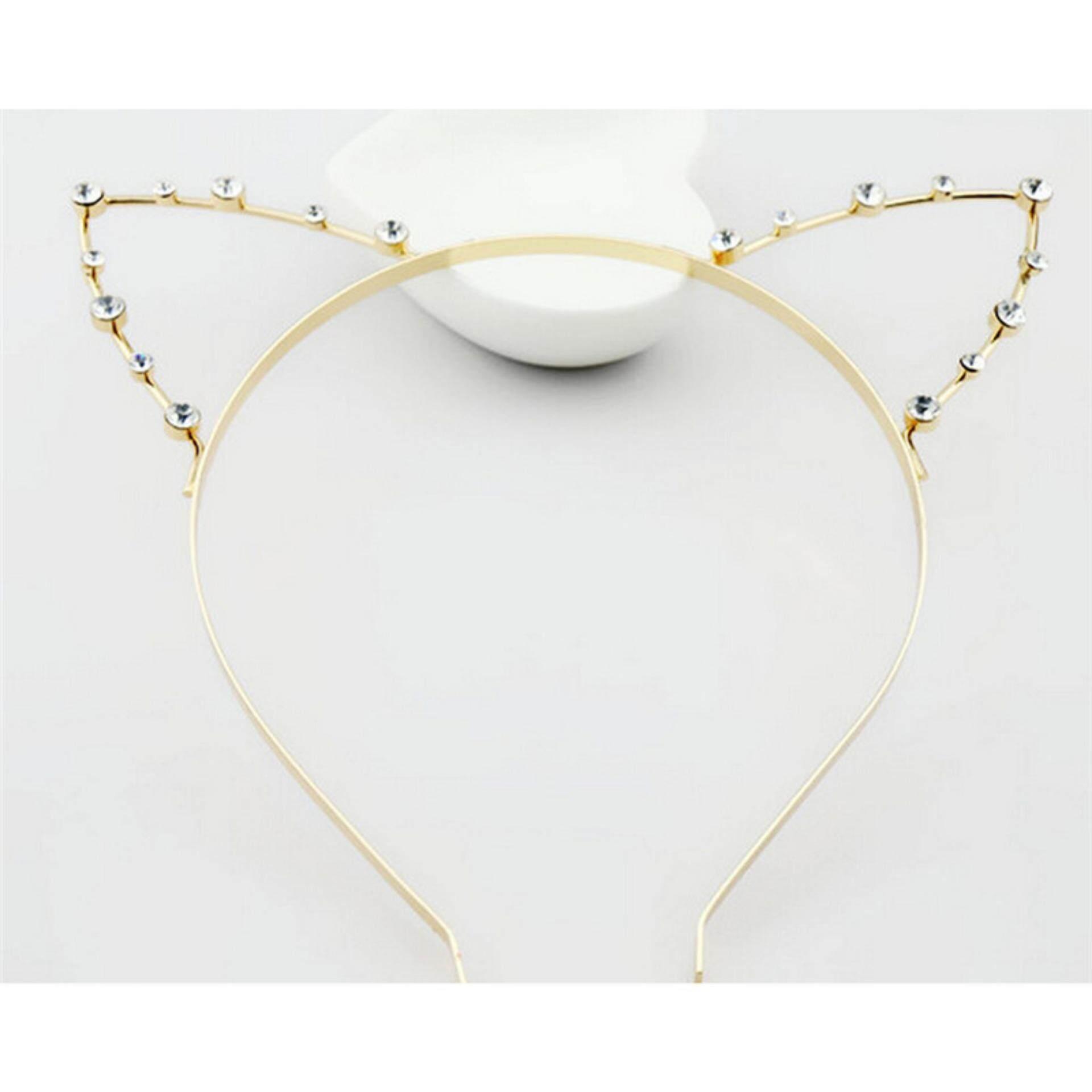 Metal Cat Ear Hair Accessories Lady Punk Rhinestone Cat Ears Head Wear Party Gold - intl