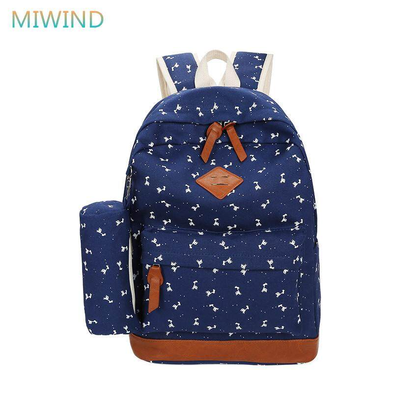 86c9a9f6c21 MIWIND 2017 Newest Deer Printing Canvas Backpack Women Schoolbags For Girls  Boys 2pcs set Casual