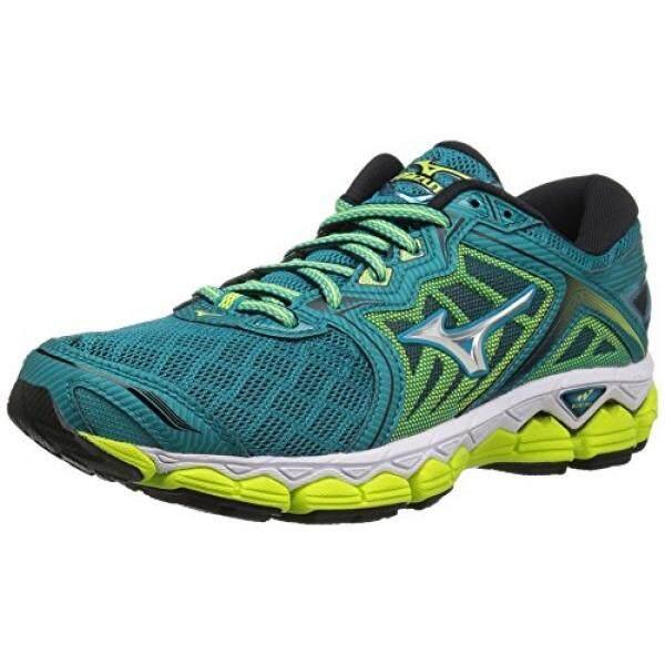 Mizuno Running Mizuno Running Wanita Wave Sepatu Langit Keramik  Biru Perak Kuning Keselamatan 52a4949eec