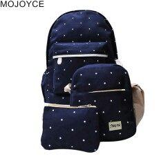 Mojoyce 3 Pcs Gadis Fashion Ikon Polka Dots Tas Punggung Kanvas + Tas  Selempang + Dompet 4b8c43a798