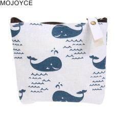 Mojoyce Wanita Simple Chic Risleting Pakaian Kunci Portabel Koin Dompet  Kanvas (Biru)-Whale 0591dd2253